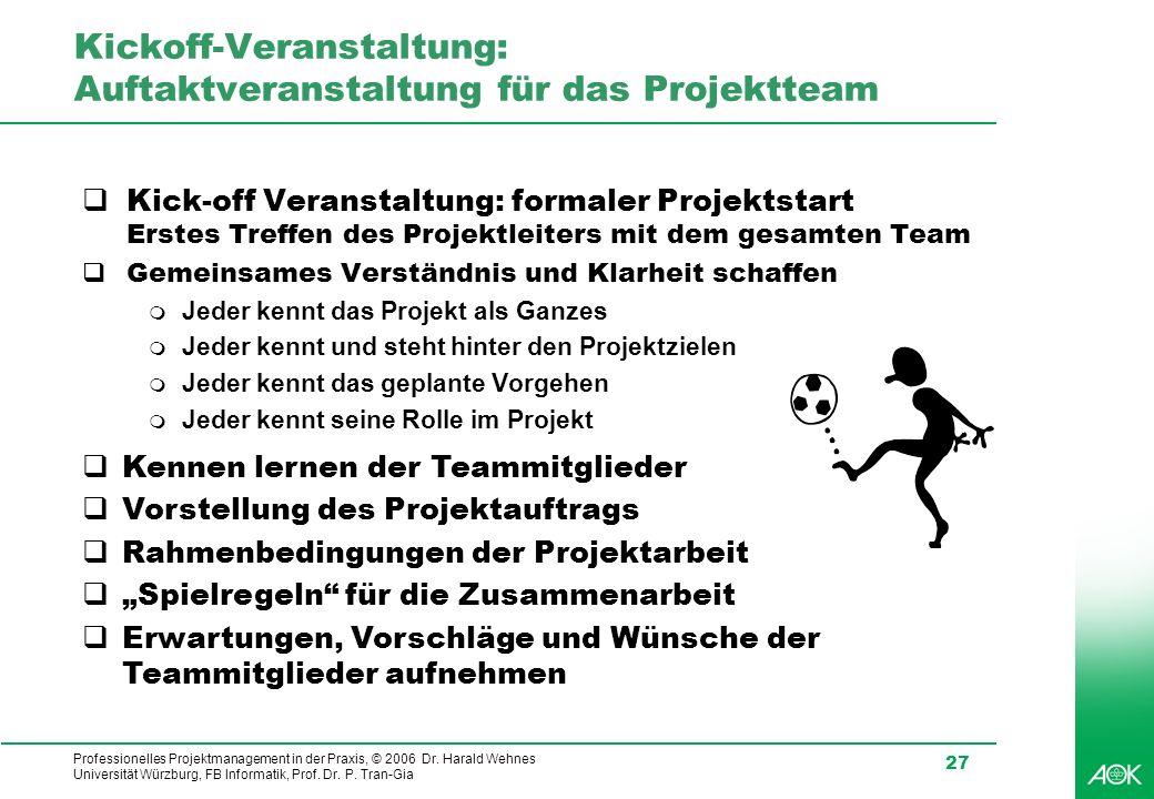 Professionelles Projektmanagement in der Praxis, © 2006 Dr. Harald Wehnes Universität Würzburg, FB Informatik, Prof. Dr. P. Tran-Gia 27 Kickoff-Verans