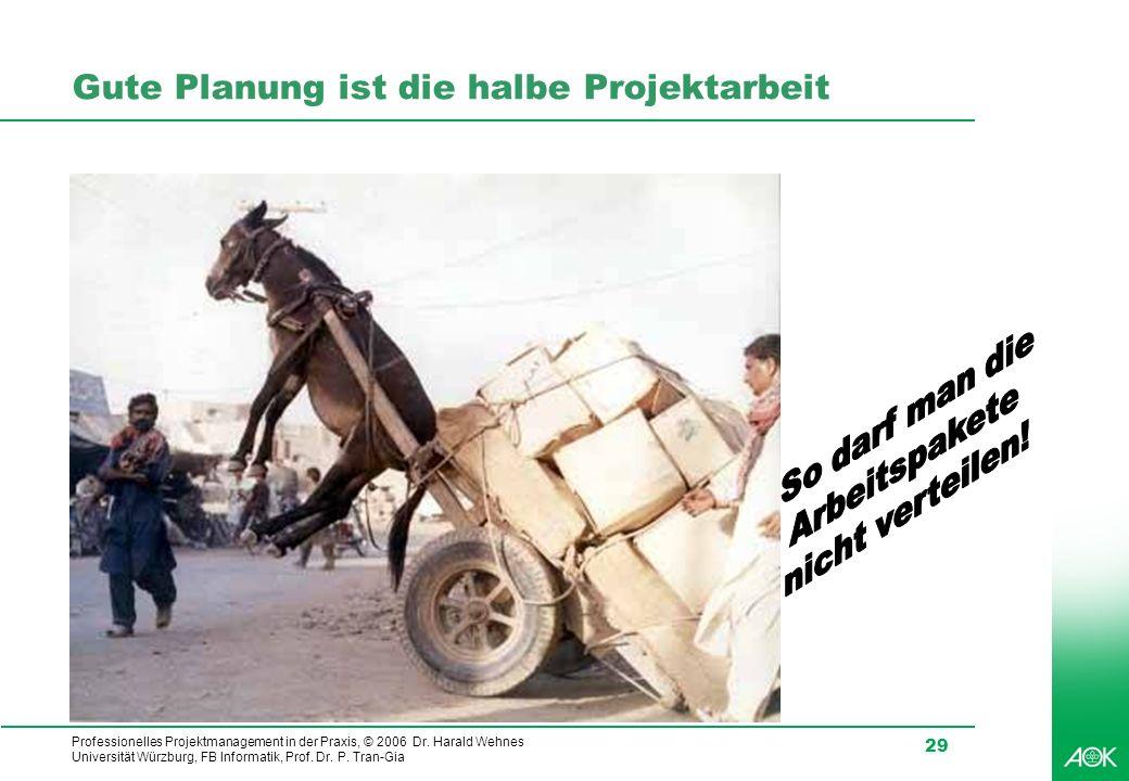 Professionelles Projektmanagement in der Praxis, © 2006 Dr. Harald Wehnes Universität Würzburg, FB Informatik, Prof. Dr. P. Tran-Gia 29 Gute Planung i