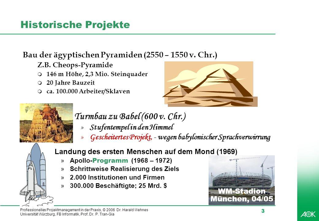 Professionelles Projektmanagement in der Praxis, © 2006 Dr. Harald Wehnes Universität Würzburg, FB Informatik, Prof. Dr. P. Tran-Gia 3 q Turmbau zu Ba