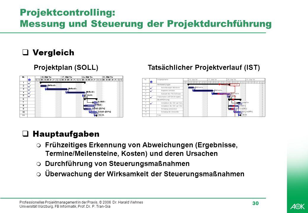 Professionelles Projektmanagement in der Praxis, © 2006 Dr. Harald Wehnes Universität Würzburg, FB Informatik, Prof. Dr. P. Tran-Gia 30 Projektcontrol