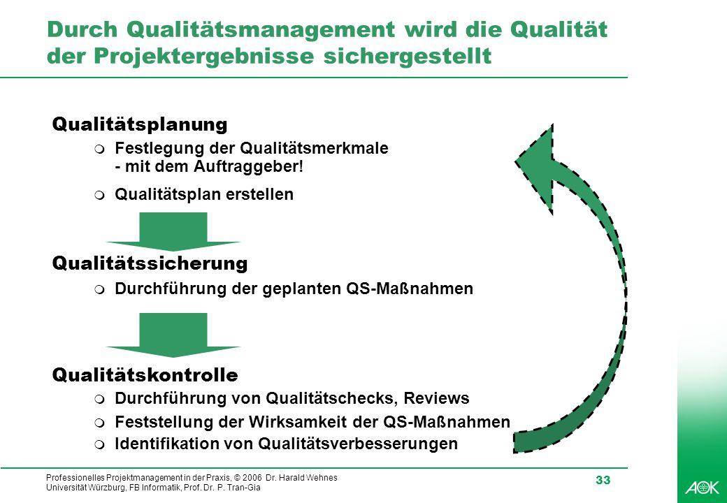 Professionelles Projektmanagement in der Praxis, © 2006 Dr. Harald Wehnes Universität Würzburg, FB Informatik, Prof. Dr. P. Tran-Gia 33 Durch Qualität