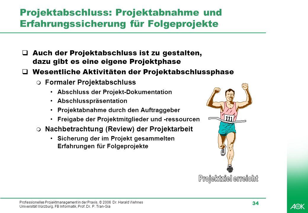 Professionelles Projektmanagement in der Praxis, © 2006 Dr. Harald Wehnes Universität Würzburg, FB Informatik, Prof. Dr. P. Tran-Gia 34 Projektabschlu