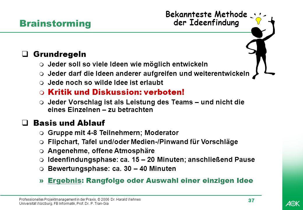 Professionelles Projektmanagement in der Praxis, © 2006 Dr. Harald Wehnes Universität Würzburg, FB Informatik, Prof. Dr. P. Tran-Gia 37 Brainstorming