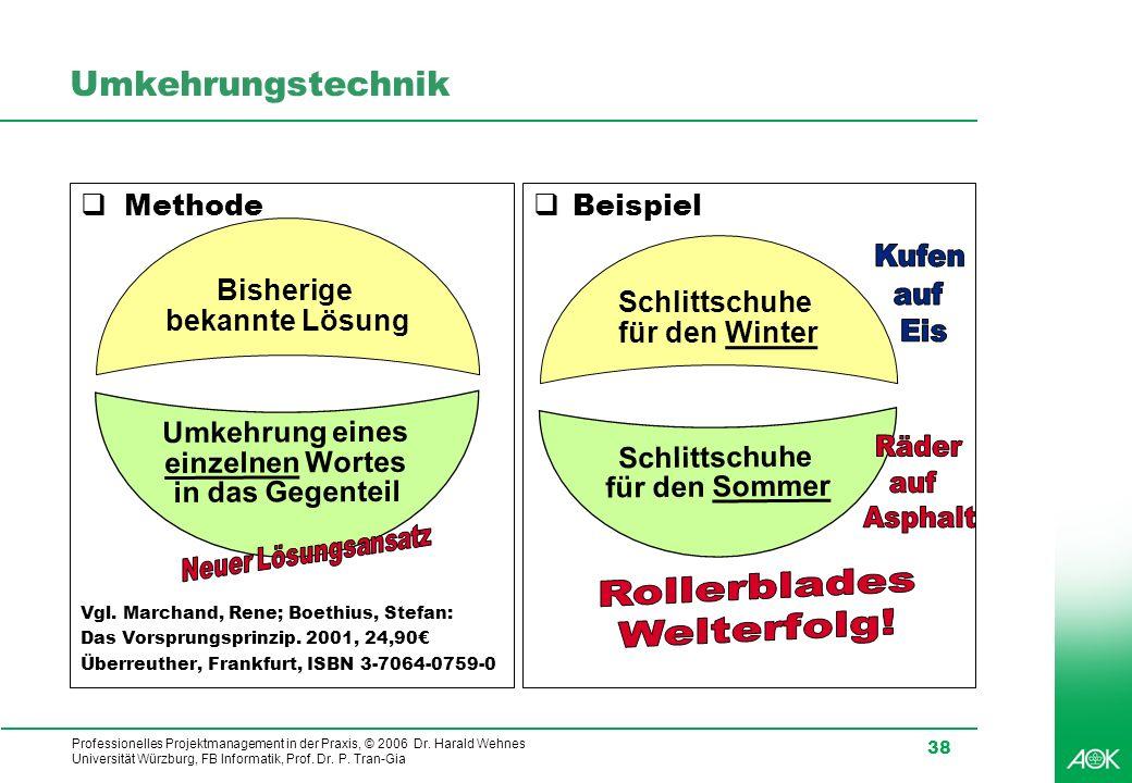 Professionelles Projektmanagement in der Praxis, © 2006 Dr. Harald Wehnes Universität Würzburg, FB Informatik, Prof. Dr. P. Tran-Gia 38 Umkehrungstech
