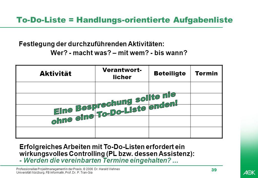 Professionelles Projektmanagement in der Praxis, © 2006 Dr. Harald Wehnes Universität Würzburg, FB Informatik, Prof. Dr. P. Tran-Gia 39 To-Do-Liste =