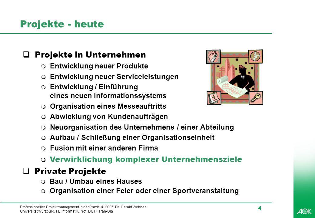 Professionelles Projektmanagement in der Praxis, © 2006 Dr. Harald Wehnes Universität Würzburg, FB Informatik, Prof. Dr. P. Tran-Gia 4 Projekte - heut