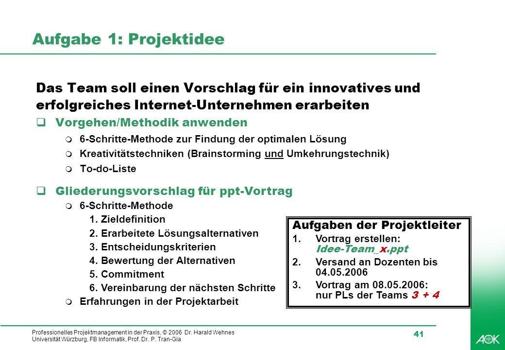 Professionelles Projektmanagement in der Praxis, © 2006 Dr. Harald Wehnes Universität Würzburg, FB Informatik, Prof. Dr. P. Tran-Gia 41 Aufgabe 1: Pro