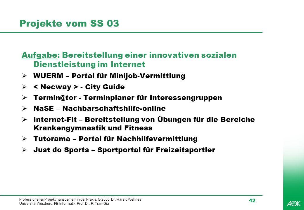 Professionelles Projektmanagement in der Praxis, © 2006 Dr. Harald Wehnes Universität Würzburg, FB Informatik, Prof. Dr. P. Tran-Gia 42 Projekte vom S