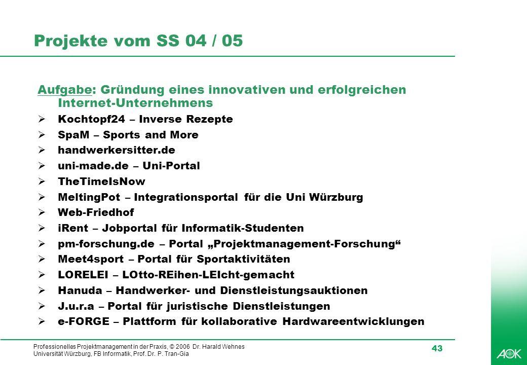 Professionelles Projektmanagement in der Praxis, © 2006 Dr. Harald Wehnes Universität Würzburg, FB Informatik, Prof. Dr. P. Tran-Gia 43 Projekte vom S