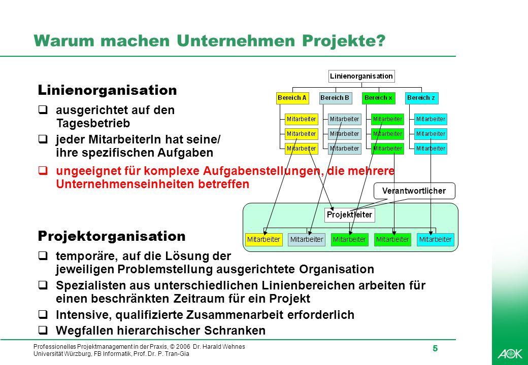 Professionelles Projektmanagement in der Praxis, © 2006 Dr. Harald Wehnes Universität Würzburg, FB Informatik, Prof. Dr. P. Tran-Gia 5 Warum machen Un