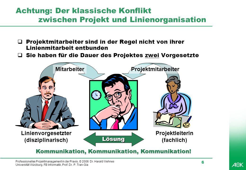 Professionelles Projektmanagement in der Praxis, © 2006 Dr. Harald Wehnes Universität Würzburg, FB Informatik, Prof. Dr. P. Tran-Gia 6 Achtung: Der kl