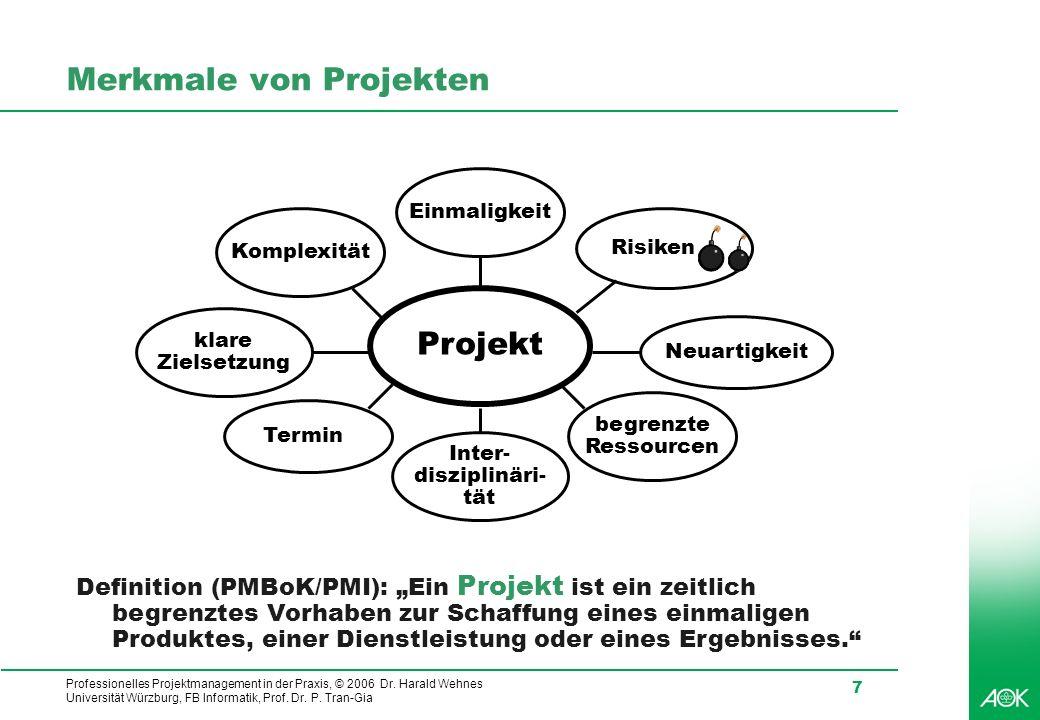 Professionelles Projektmanagement in der Praxis, © 2006 Dr. Harald Wehnes Universität Würzburg, FB Informatik, Prof. Dr. P. Tran-Gia 7 Merkmale von Pr
