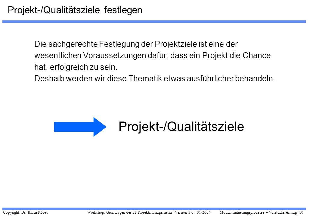 Copyright: Dr. Klaus Röber 10 Workshop: Grundlagen des IT-Projektmanagements - Version 3.0 - 01/2004Modul: Initiierungsprozesse – Vorstudie/Antrag Pro