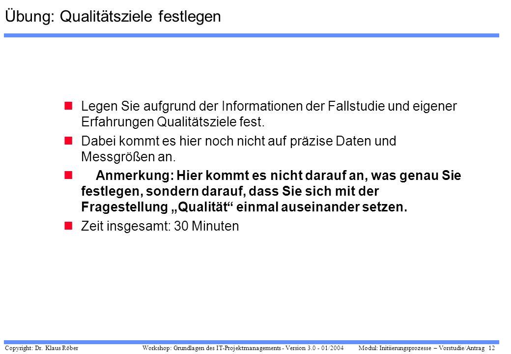 Copyright: Dr. Klaus Röber 12 Workshop: Grundlagen des IT-Projektmanagements - Version 3.0 - 01/2004Modul: Initiierungsprozesse – Vorstudie/Antrag Übu