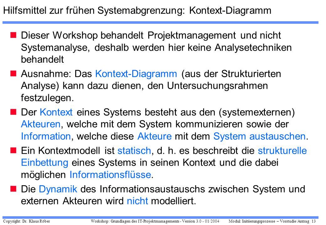 Copyright: Dr. Klaus Röber 13 Workshop: Grundlagen des IT-Projektmanagements - Version 3.0 - 01/2004Modul: Initiierungsprozesse – Vorstudie/Antrag Hil