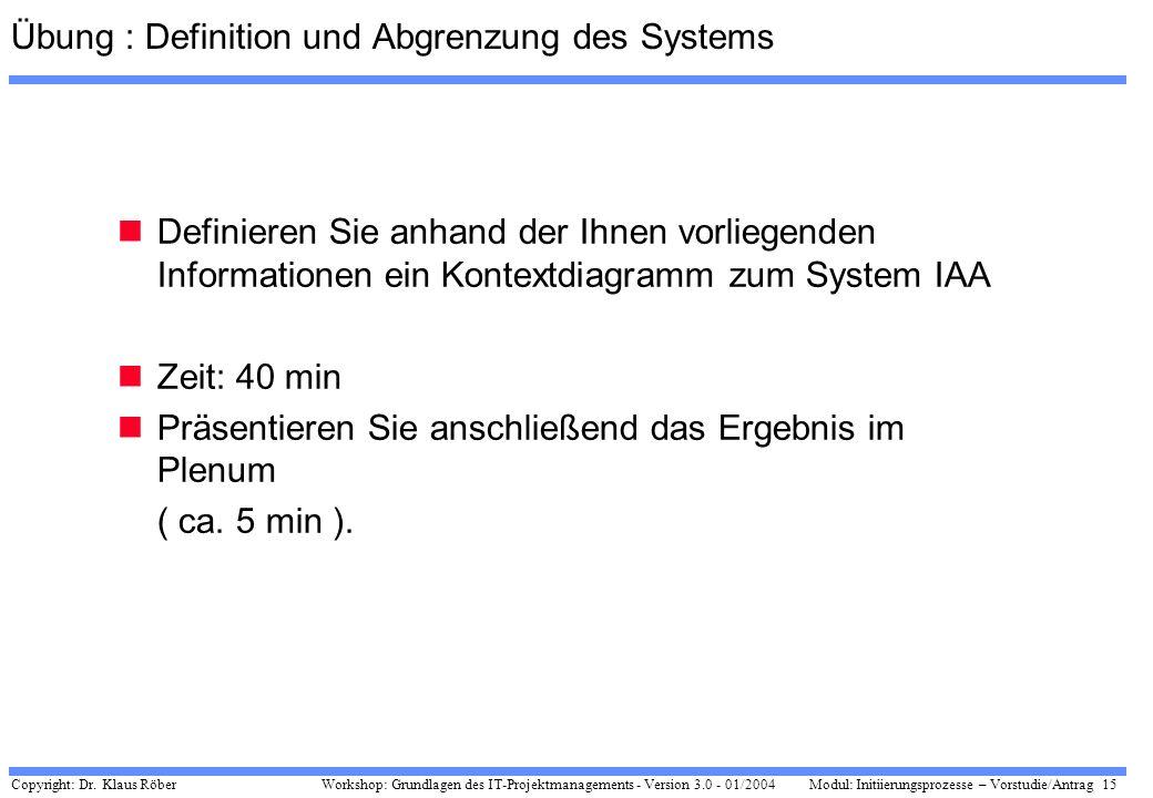 Copyright: Dr. Klaus Röber 15 Workshop: Grundlagen des IT-Projektmanagements - Version 3.0 - 01/2004Modul: Initiierungsprozesse – Vorstudie/Antrag Übu