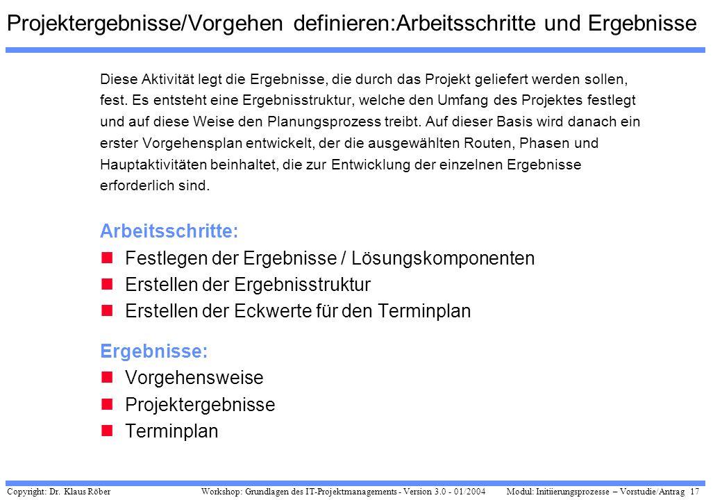 Copyright: Dr. Klaus Röber 17 Workshop: Grundlagen des IT-Projektmanagements - Version 3.0 - 01/2004Modul: Initiierungsprozesse – Vorstudie/Antrag Pro