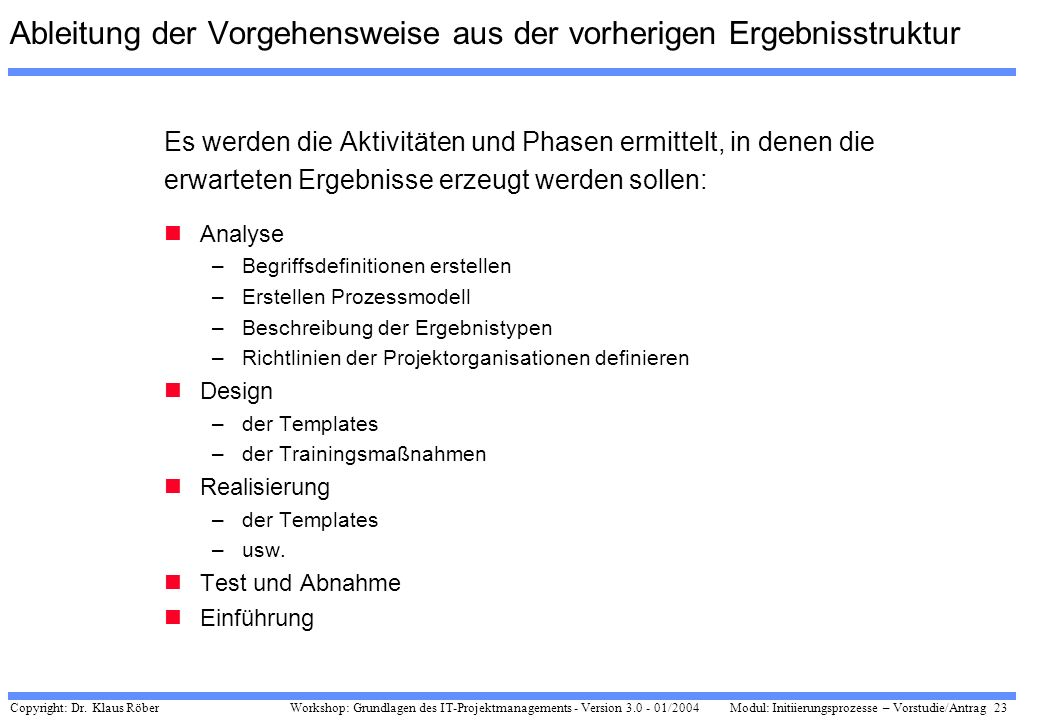 Copyright: Dr. Klaus Röber 23 Workshop: Grundlagen des IT-Projektmanagements - Version 3.0 - 01/2004Modul: Initiierungsprozesse – Vorstudie/Antrag Abl