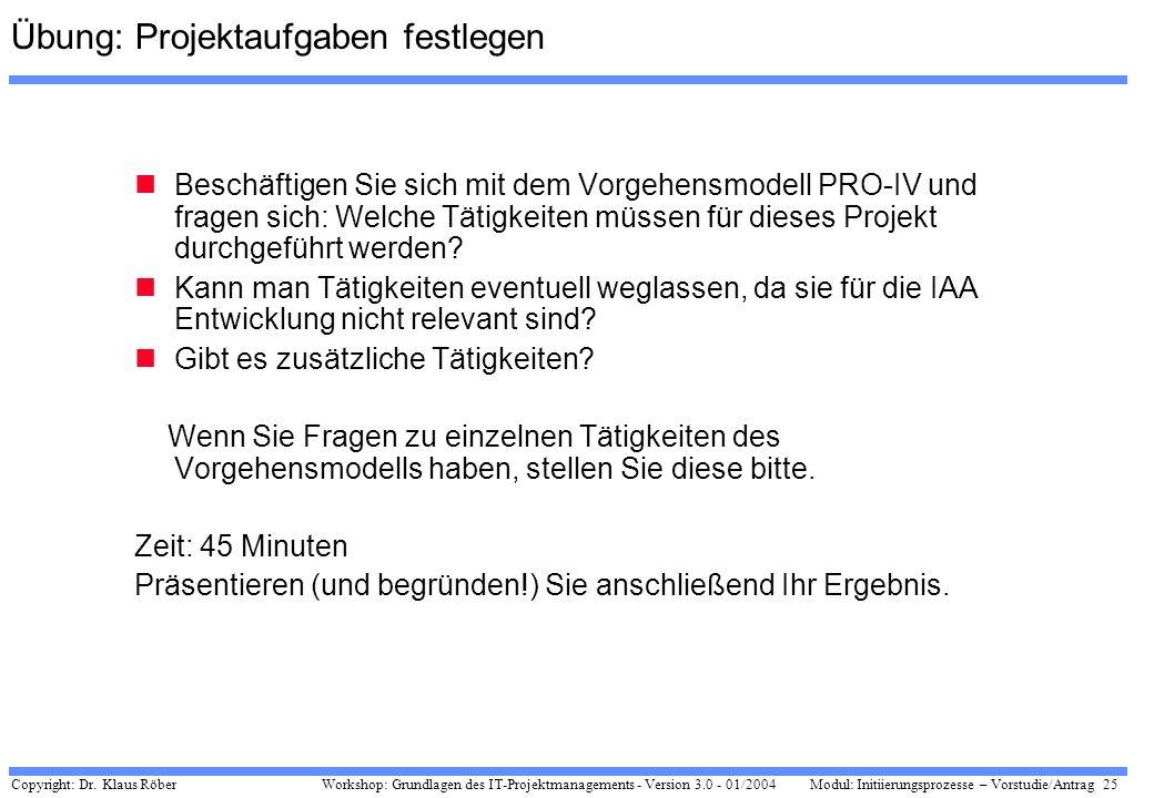 Copyright: Dr. Klaus Röber 25 Workshop: Grundlagen des IT-Projektmanagements - Version 3.0 - 01/2004Modul: Initiierungsprozesse – Vorstudie/Antrag Übu