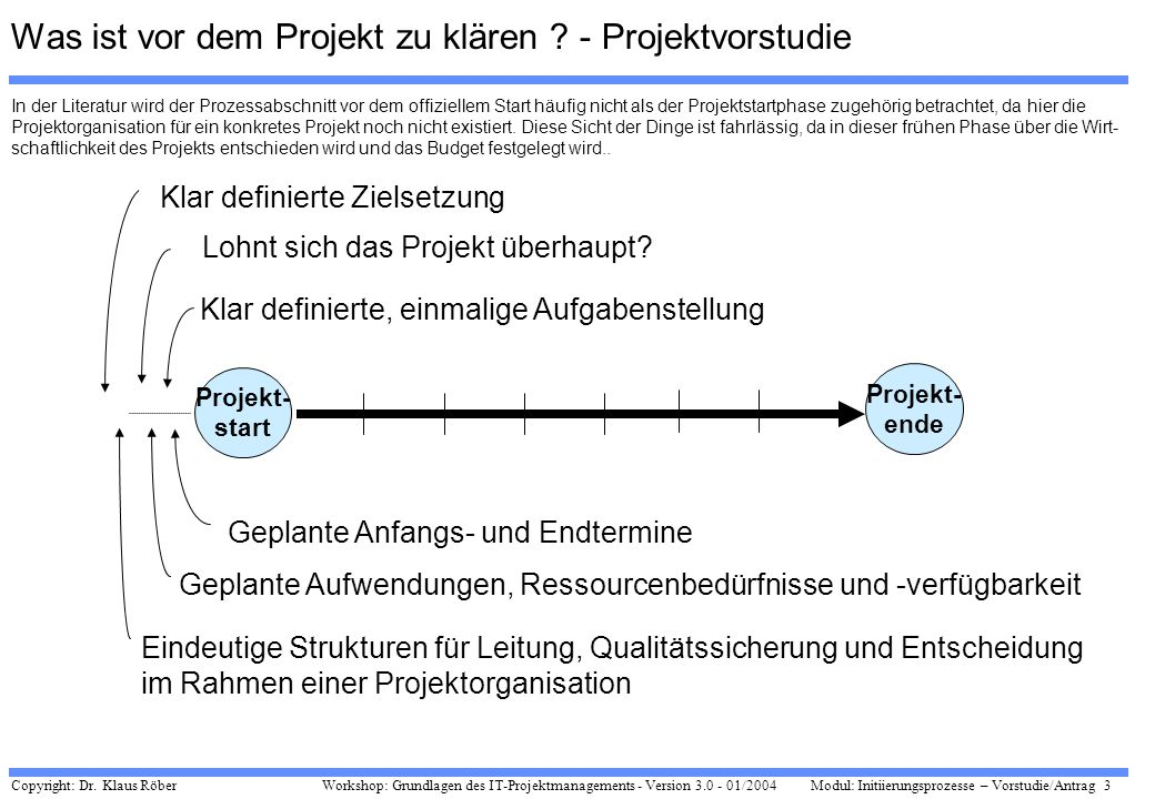 Copyright: Dr. Klaus Röber 3 Workshop: Grundlagen des IT-Projektmanagements - Version 3.0 - 01/2004Modul: Initiierungsprozesse – Vorstudie/Antrag Proj