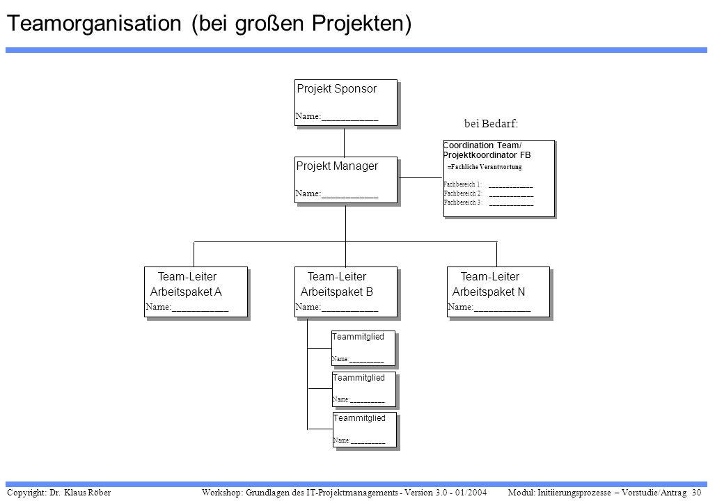 Copyright: Dr. Klaus Röber 30 Workshop: Grundlagen des IT-Projektmanagements - Version 3.0 - 01/2004Modul: Initiierungsprozesse – Vorstudie/Antrag Pro