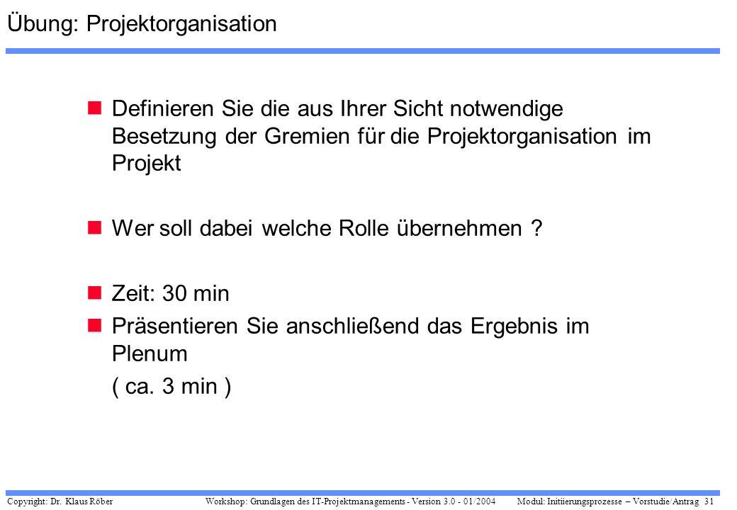 Copyright: Dr. Klaus Röber 31 Workshop: Grundlagen des IT-Projektmanagements - Version 3.0 - 01/2004Modul: Initiierungsprozesse – Vorstudie/Antrag Übu