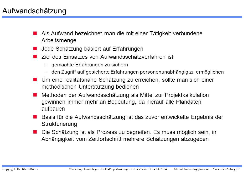 Copyright: Dr. Klaus Röber 33 Workshop: Grundlagen des IT-Projektmanagements - Version 3.0 - 01/2004Modul: Initiierungsprozesse – Vorstudie/Antrag Auf