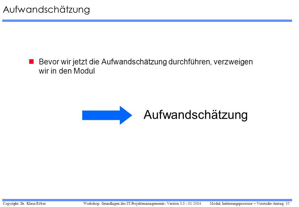 Copyright: Dr. Klaus Röber 35 Workshop: Grundlagen des IT-Projektmanagements - Version 3.0 - 01/2004Modul: Initiierungsprozesse – Vorstudie/Antrag Auf