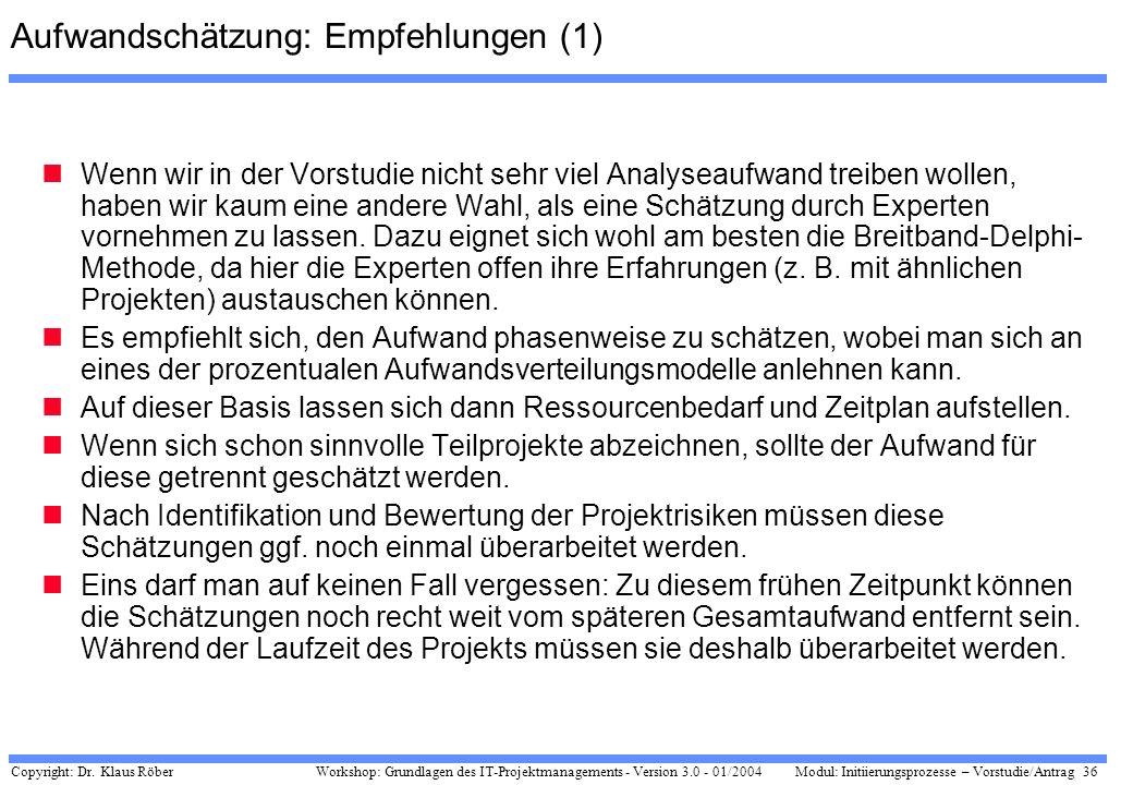 Copyright: Dr. Klaus Röber 36 Workshop: Grundlagen des IT-Projektmanagements - Version 3.0 - 01/2004Modul: Initiierungsprozesse – Vorstudie/Antrag Auf