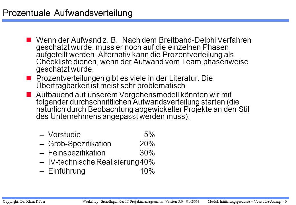 Copyright: Dr. Klaus Röber 40 Workshop: Grundlagen des IT-Projektmanagements - Version 3.0 - 01/2004Modul: Initiierungsprozesse – Vorstudie/Antrag Pro