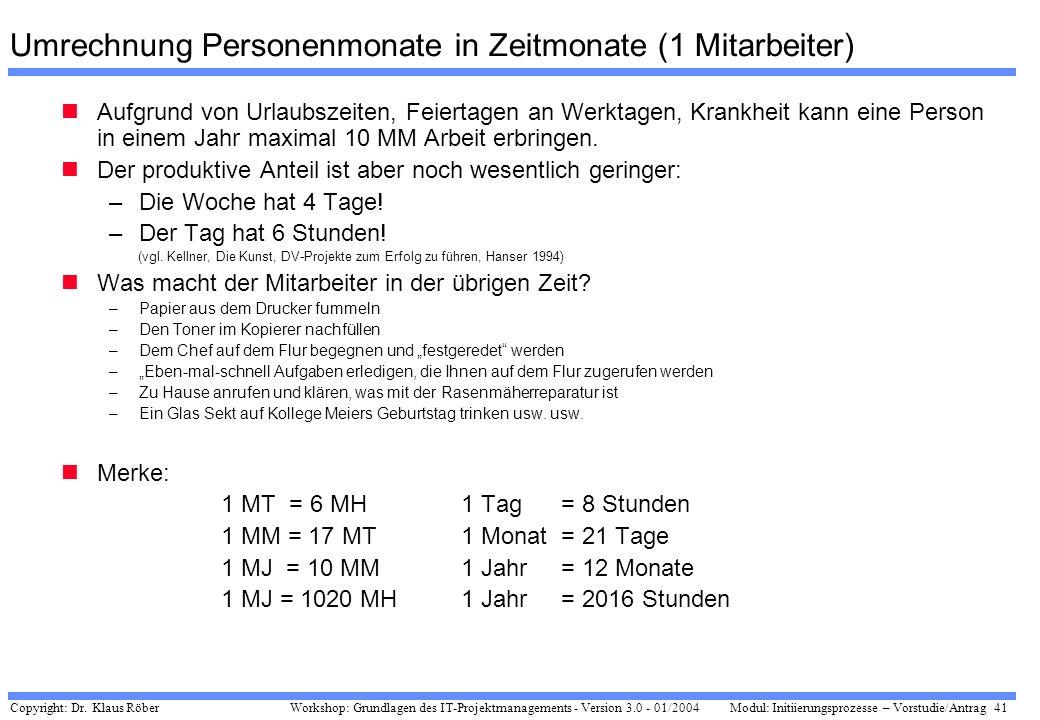 Copyright: Dr. Klaus Röber 41 Workshop: Grundlagen des IT-Projektmanagements - Version 3.0 - 01/2004Modul: Initiierungsprozesse – Vorstudie/Antrag Umr