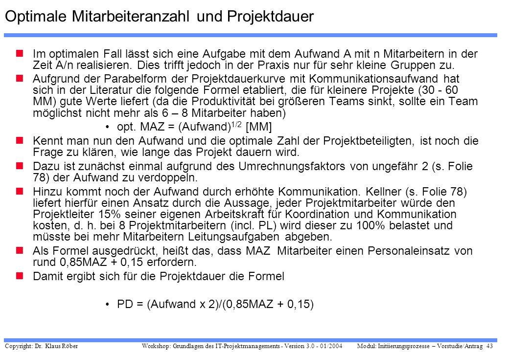 Copyright: Dr. Klaus Röber 43 Workshop: Grundlagen des IT-Projektmanagements - Version 3.0 - 01/2004Modul: Initiierungsprozesse – Vorstudie/Antrag Opt