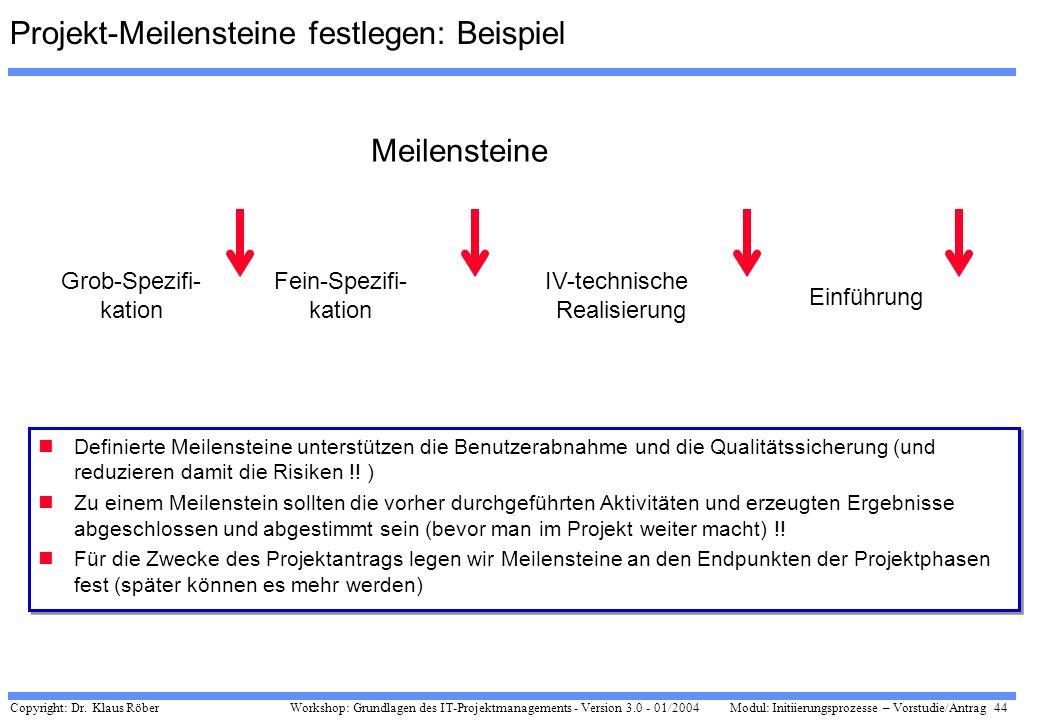 Copyright: Dr. Klaus Röber 44 Workshop: Grundlagen des IT-Projektmanagements - Version 3.0 - 01/2004Modul: Initiierungsprozesse – Vorstudie/Antrag Pro