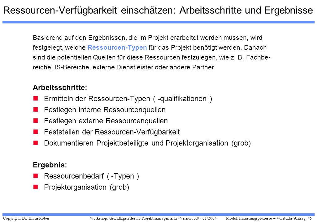Copyright: Dr. Klaus Röber 45 Workshop: Grundlagen des IT-Projektmanagements - Version 3.0 - 01/2004Modul: Initiierungsprozesse – Vorstudie/Antrag Res