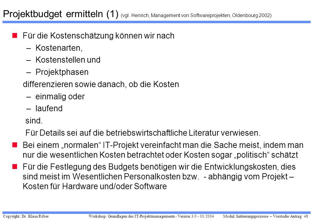 Copyright: Dr. Klaus Röber 48 Workshop: Grundlagen des IT-Projektmanagements - Version 3.0 - 01/2004Modul: Initiierungsprozesse – Vorstudie/Antrag Pro