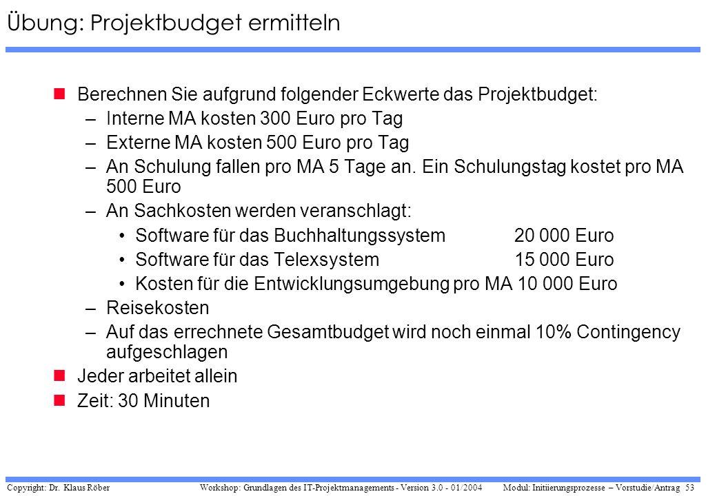 Copyright: Dr. Klaus Röber 53 Workshop: Grundlagen des IT-Projektmanagements - Version 3.0 - 01/2004Modul: Initiierungsprozesse – Vorstudie/Antrag Übu