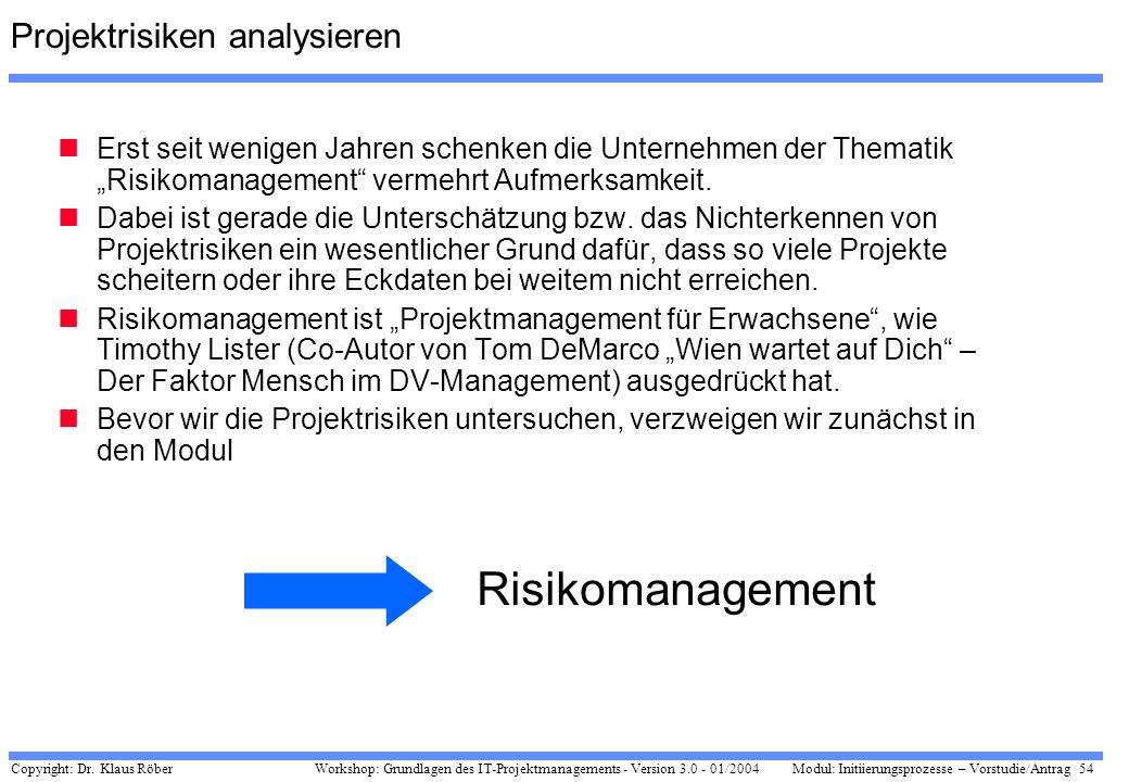 Copyright: Dr. Klaus Röber 54 Workshop: Grundlagen des IT-Projektmanagements - Version 3.0 - 01/2004Modul: Initiierungsprozesse – Vorstudie/Antrag Pro
