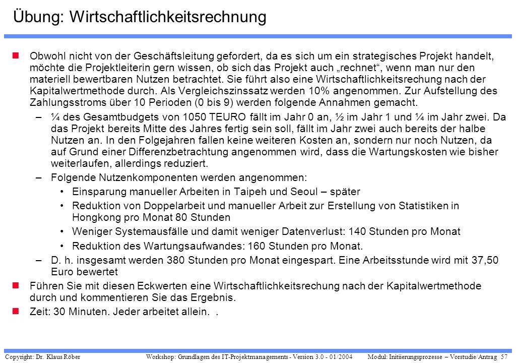 Copyright: Dr. Klaus Röber 57 Workshop: Grundlagen des IT-Projektmanagements - Version 3.0 - 01/2004Modul: Initiierungsprozesse – Vorstudie/Antrag Übu
