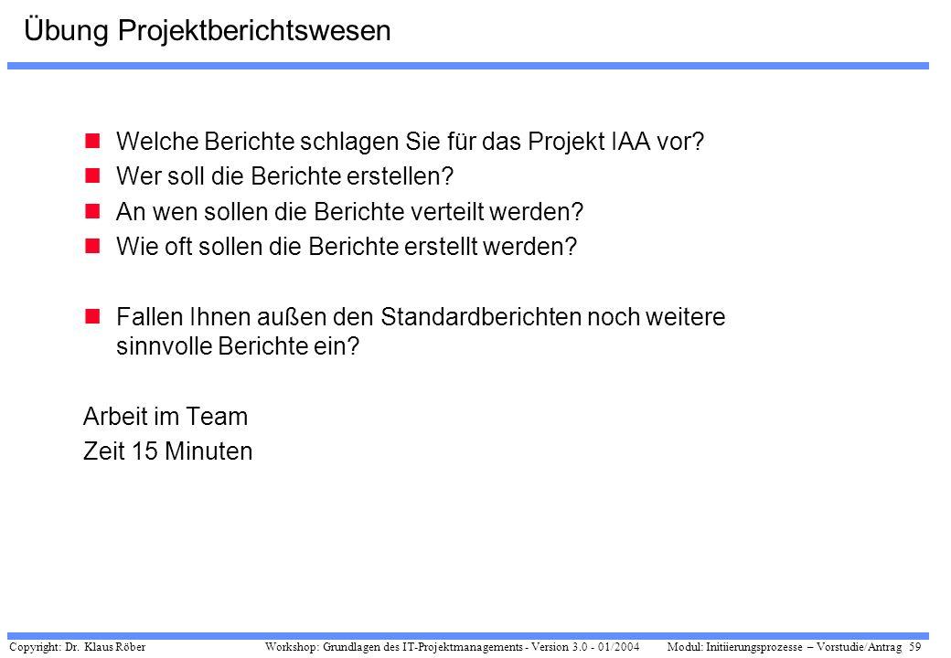 Copyright: Dr. Klaus Röber 59 Workshop: Grundlagen des IT-Projektmanagements - Version 3.0 - 01/2004Modul: Initiierungsprozesse – Vorstudie/Antrag Übu