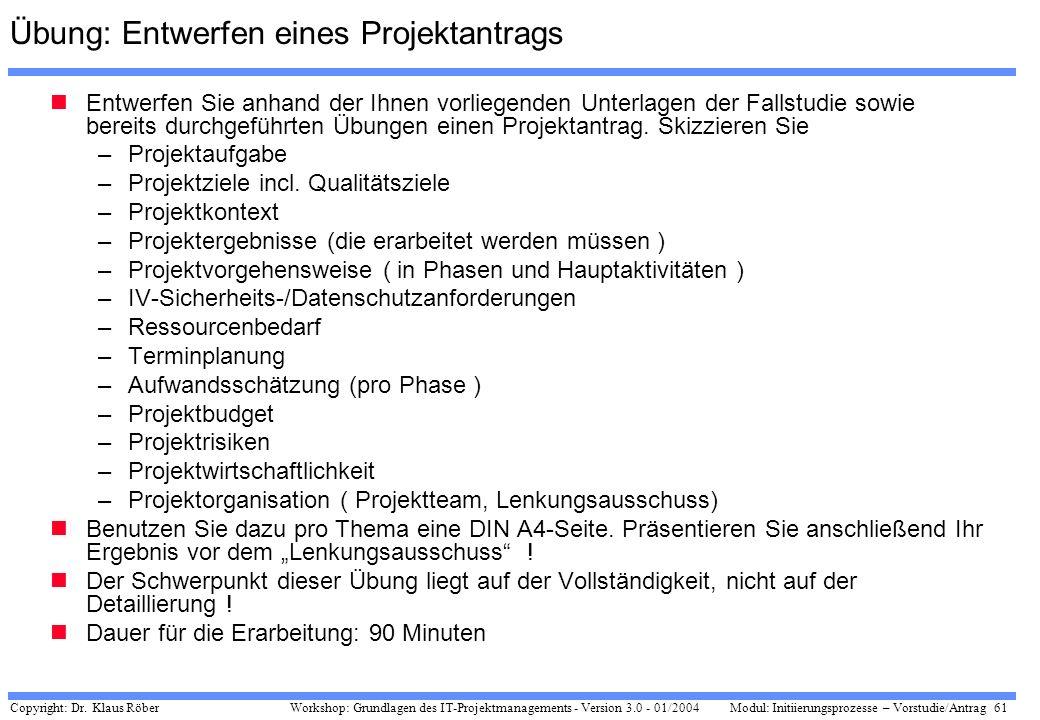 Copyright: Dr. Klaus Röber 61 Workshop: Grundlagen des IT-Projektmanagements - Version 3.0 - 01/2004Modul: Initiierungsprozesse – Vorstudie/Antrag Übu