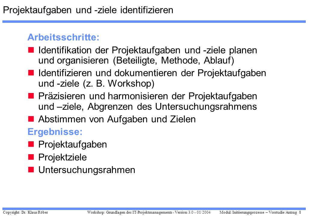 Copyright: Dr. Klaus Röber 8 Workshop: Grundlagen des IT-Projektmanagements - Version 3.0 - 01/2004Modul: Initiierungsprozesse – Vorstudie/Antrag Proj
