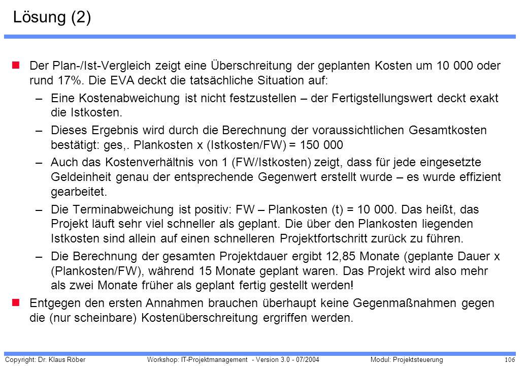 Copyright: Dr. Klaus Röber 106 Workshop: IT-Projektmanagement - Version 3.0 - 07/2004Modul: Projektsteuerung Lösung (2) Der Plan-/Ist-Vergleich zeigt
