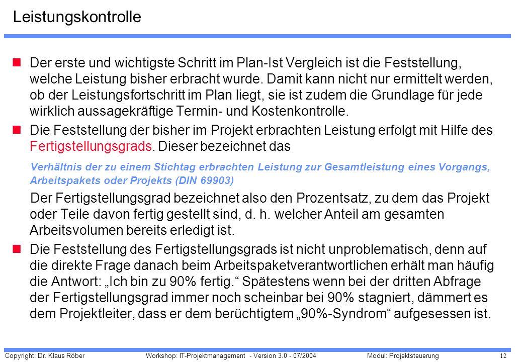 Copyright: Dr. Klaus Röber 12 Workshop: IT-Projektmanagement - Version 3.0 - 07/2004Modul: Projektsteuerung Leistungskontrolle Der erste und wichtigst