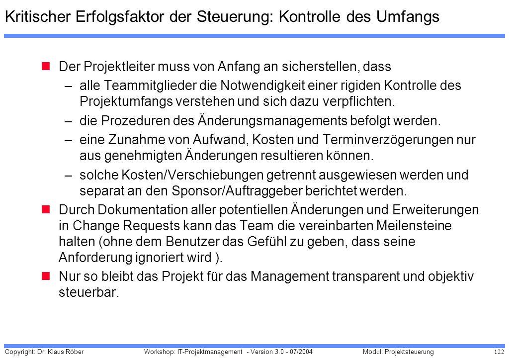 Copyright: Dr. Klaus Röber 122 Workshop: IT-Projektmanagement - Version 3.0 - 07/2004Modul: Projektsteuerung Kritischer Erfolgsfaktor der Steuerung: K
