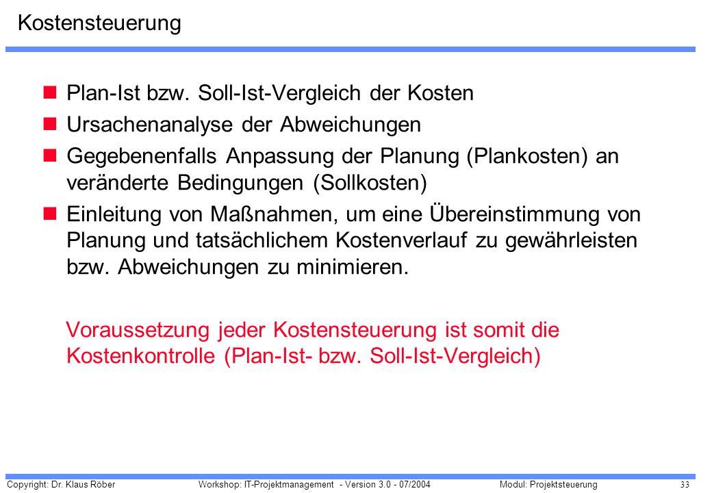 Copyright: Dr. Klaus Röber 33 Workshop: IT-Projektmanagement - Version 3.0 - 07/2004Modul: Projektsteuerung Kostensteuerung Plan-Ist bzw. Soll-Ist-Ver