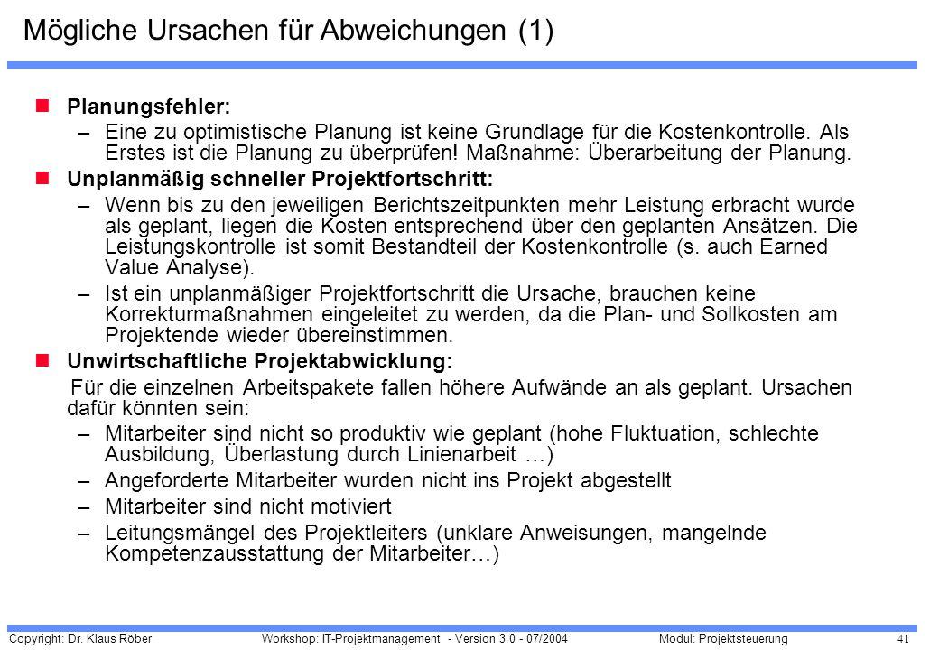 Copyright: Dr. Klaus Röber 41 Workshop: IT-Projektmanagement - Version 3.0 - 07/2004Modul: Projektsteuerung Mögliche Ursachen für Abweichungen (1) Pla