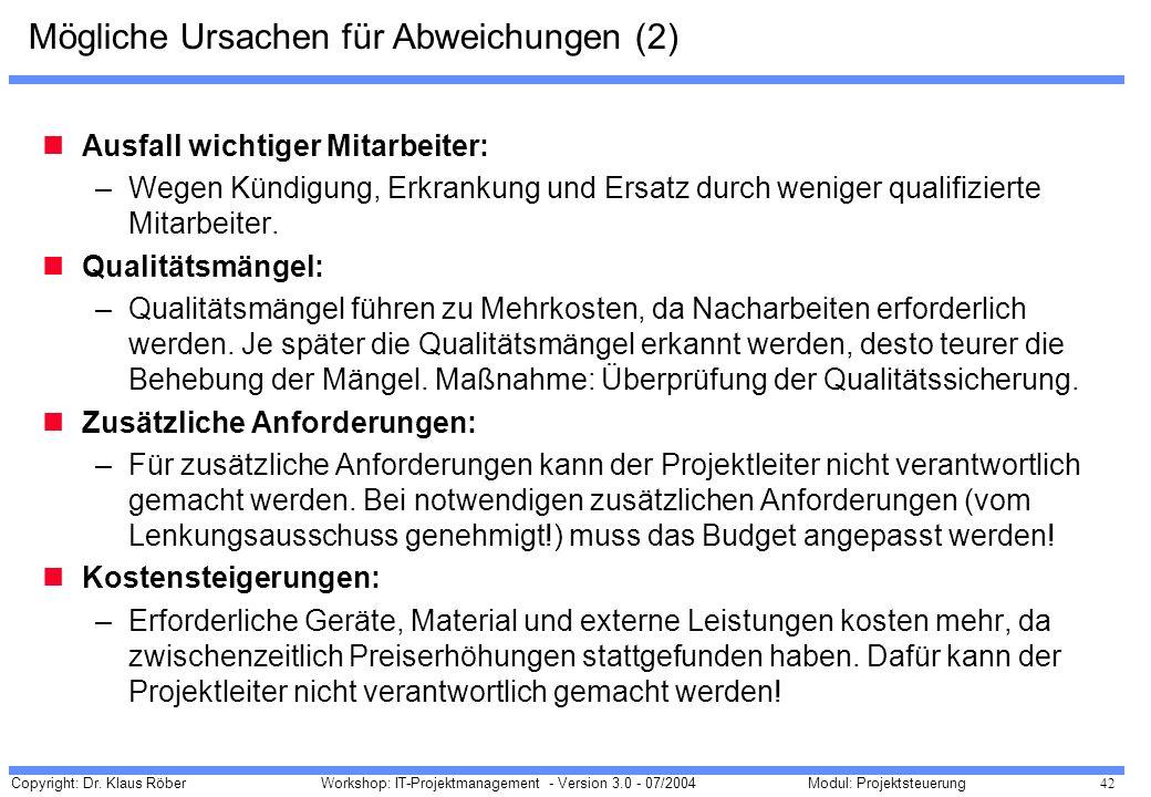 Copyright: Dr. Klaus Röber 42 Workshop: IT-Projektmanagement - Version 3.0 - 07/2004Modul: Projektsteuerung Mögliche Ursachen für Abweichungen (2) Aus