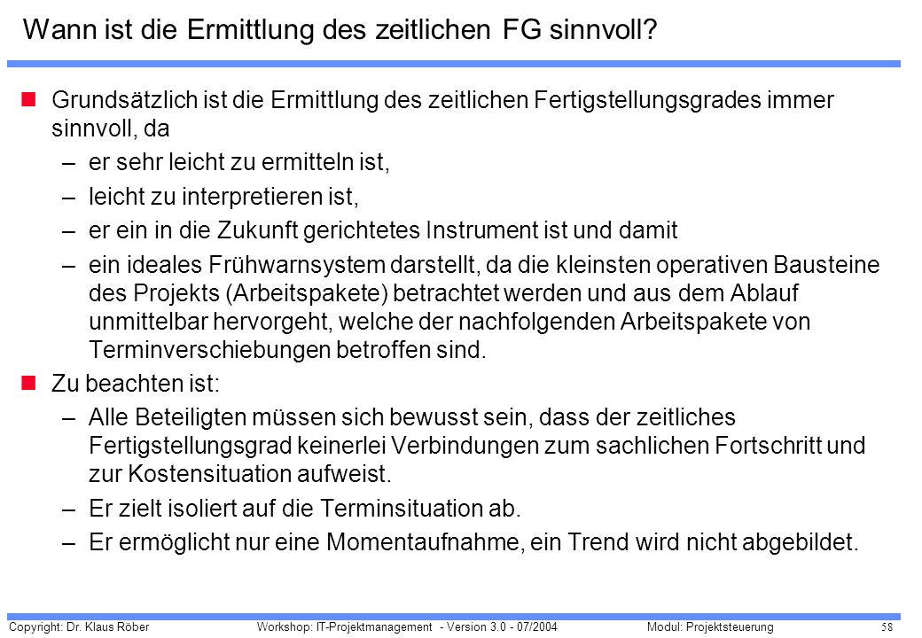 Copyright: Dr. Klaus Röber 58 Workshop: IT-Projektmanagement - Version 3.0 - 07/2004Modul: Projektsteuerung Wann ist die Ermittlung des zeitlichen FG