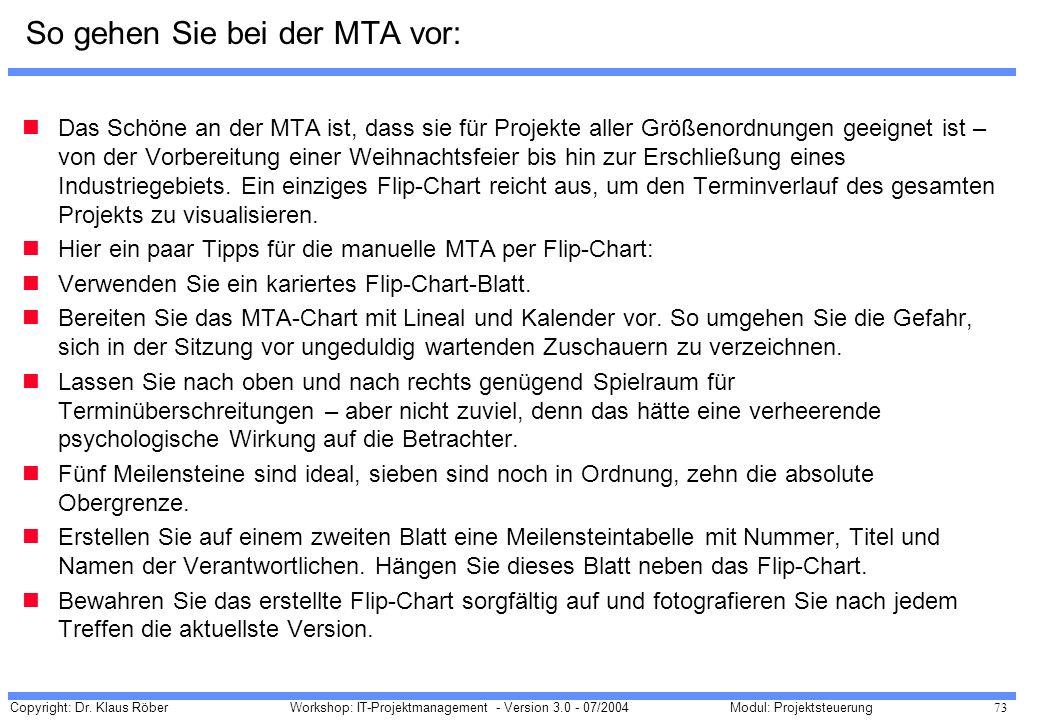 Copyright: Dr. Klaus Röber 73 Workshop: IT-Projektmanagement - Version 3.0 - 07/2004Modul: Projektsteuerung So gehen Sie bei der MTA vor: Das Schöne a