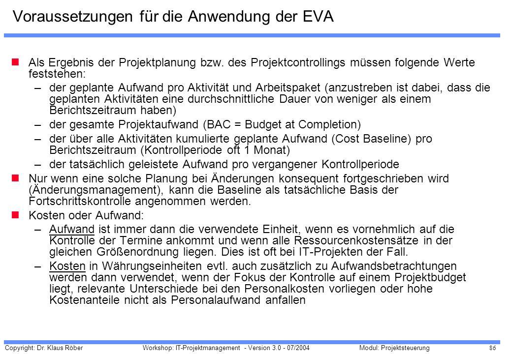 Copyright: Dr. Klaus Röber 86 Workshop: IT-Projektmanagement - Version 3.0 - 07/2004Modul: Projektsteuerung Voraussetzungen für die Anwendung der EVA
